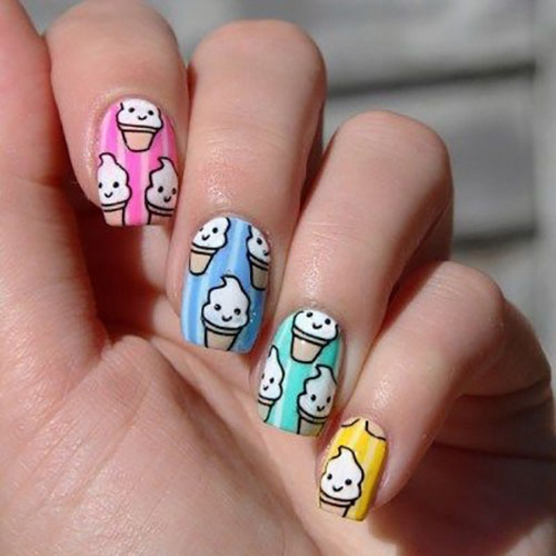 ice cream summer nail designs